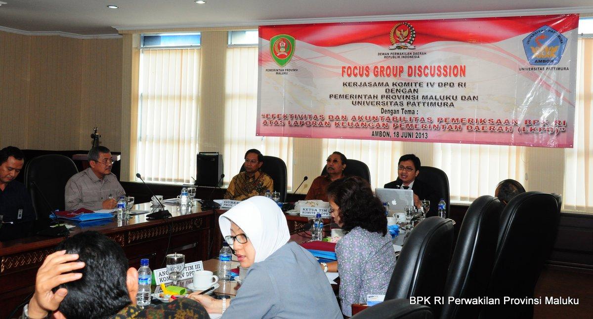 Kepala Perwakilan BPK RI Provinsi Maluku, Drs. Darwin Wibawa, M.M., menghadiri acara Focus Group Discussion kerjasama Komite IV DPD RI dengan Pemerintah Provinsi Maluku dan Universitas Pattimura