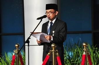Inspektur Upacara Bapak Novian Herodwijanto Membacakan Sambutan Ketua BPK