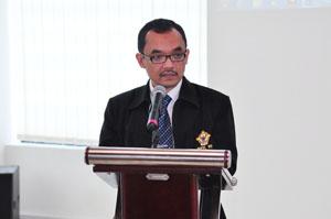 Bapak Novian Herodwijanto Memberikan Sambutan Dalam Acara Syukuran HUT BPK-RI Ke-67