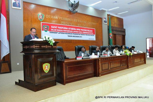 Sambutan Auditor Utama KN VI Bapak Sjafrudin Mosii pada penyerahan LHP BPK RI atas Laporan Keuangan Pemerintah Provinsi Maluku TA.2013