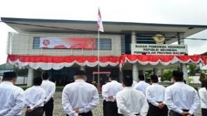 Para Pegawai BPK Perwakilan Maluku mengikuti Upacara HUT RI ke-70